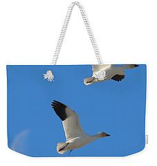 Snow Geese Moon Weekender Tote Bag