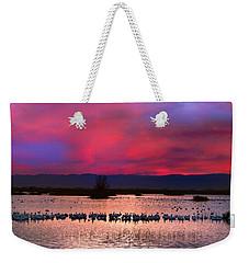 Snow Geese Sunset Weekender Tote Bag