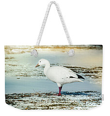 Weekender Tote Bag featuring the photograph Snow Goose - Frozen Field by Robert Frederick