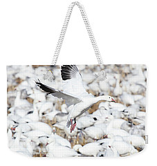 Snow Goose Lift-off Weekender Tote Bag