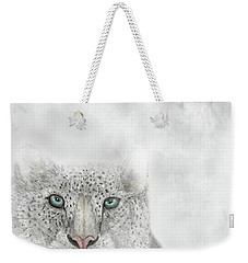 Weekender Tote Bag featuring the digital art Snow Leopard by Darren Cannell