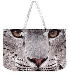 Snow Leopard Face Weekender Tote Bag