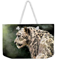 Weekender Tote Bag featuring the digital art Snow Leopard by Kaylee Mason