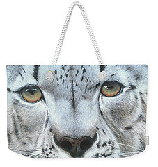 Weekender Tote Bag featuring the painting Snow Leopard by Mike Brown