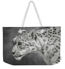 Weekender Tote Bag featuring the digital art Snow Leopard by Nicole Wilde