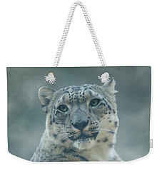 Weekender Tote Bag featuring the photograph Snow Leopard Portrait by Sandy Keeton