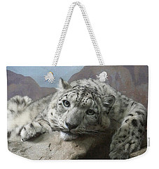 Snow Leopard Relaxing Weekender Tote Bag