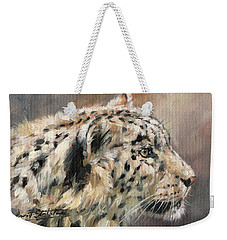 Weekender Tote Bag featuring the painting Snow Leopard Study by David Stribbling