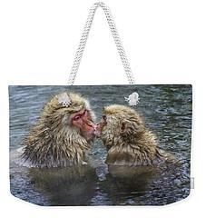 Snow Monkey Kisses Weekender Tote Bag