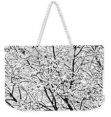 Weekender Tote Bag featuring the photograph Snow On Branches by Lars Lentz