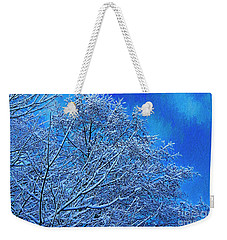 Weekender Tote Bag featuring the photograph Snow On Branches Photo Art by Sharon Talson