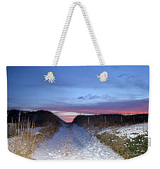 Weekender Tote Bag featuring the photograph Snow On The Dunes by Barbara Ann Bell