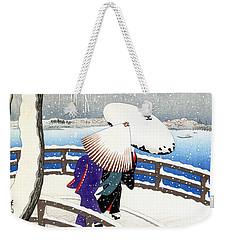 Snow On Willow Bridge By Koson Weekender Tote Bag