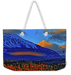 Weekender Tote Bag featuring the photograph Snow Peak Fall by Scott Mahon