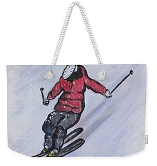 Weekender Tote Bag featuring the painting Snow Ski Fun by Clyde J Kell