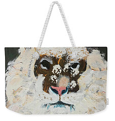 Weekender Tote Bag featuring the painting Snow Tiger by Donald J Ryker III