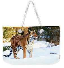 Snow Tiger Weekender Tote Bag by Steve McKinzie