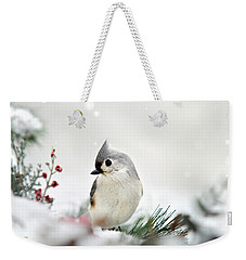 Snow White Tufted Titmouse Weekender Tote Bag by Christina Rollo