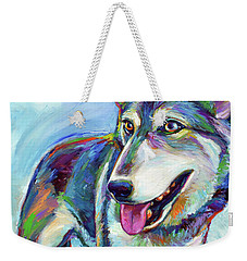 Snow Wolf Weekender Tote Bag by Robert Phelps