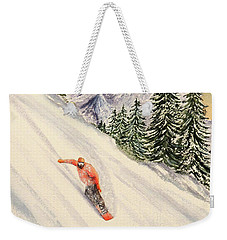 Weekender Tote Bag featuring the painting Snowboarding Free And Easy by Bill Holkham