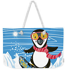 Snowboarding Penguin Weekender Tote Bag
