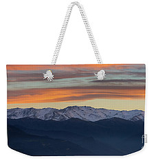 Snowcapped Miapor Range Under Golden Clouds, Armenia Weekender Tote Bag by Gurgen Bakhshetsyan