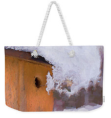 Weekender Tote Bag featuring the photograph Snowdrift On The Bluebird House by Gary Slawsky
