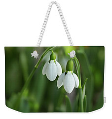 Weekender Tote Bag featuring the photograph Snowdrops by Mary Jo Allen