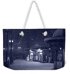 Snowfall In Harvard Square Cambridge Ma Kiosk Monochrome Blue Weekender Tote Bag