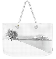 Snowfall On The River Danube At Ybbs Weekender Tote Bag by Menega Sabidussi