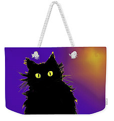 Weekender Tote Bag featuring the painting Snowflake Dizzycat by DC Langer