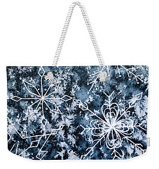 Weekender Tote Bag featuring the painting Snowflake Greetings by Rebecca Davis