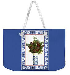 Snowflake Vase With Christmas Regalia Weekender Tote Bag by Lise Winne