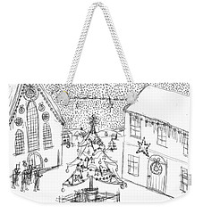 Weekender Tote Bag featuring the painting Snowing At Christmas by Artists With Autism Inc