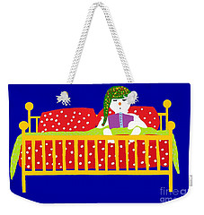 Weekender Tote Bag featuring the digital art Snowman Bedtime by Barbara Moignard