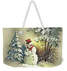Snowman Christmas Card Weekender Tote Bag