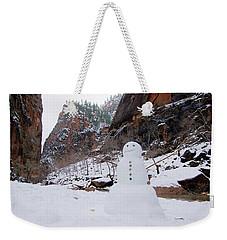 Snowman In Zion Weekender Tote Bag by Daniel Woodrum