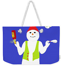 Weekender Tote Bag featuring the digital art Snowman Juggler by Barbara Moignard