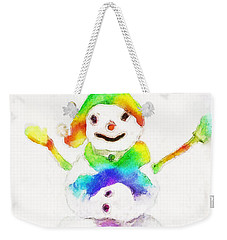 Weekender Tote Bag featuring the painting Snowman With Rainbow 1 by Claire Bull