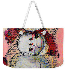 Snowman With Red Hat And Mistletoe Weekender Tote Bag