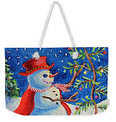 Weekender Tote Bag featuring the painting Snowmas Christmas by Li Newton