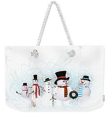 Weekender Tote Bag featuring the painting Snowmen by Methune Hively