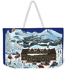 Snowmobile Holiday Weekender Tote Bag