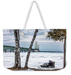 Weekender Tote Bag featuring the photograph Snowmobile Michigan  by John McGraw