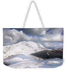snowy Anboto from Urkiolamendi at winter Weekender Tote Bag