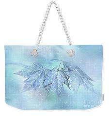 Snowy Baby Leaves Weekender Tote Bag