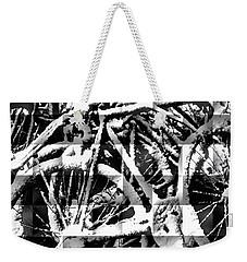 Snowy Bike Weekender Tote Bag by Joan Reese