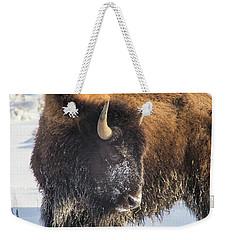 Snowy Bison Weekender Tote Bag