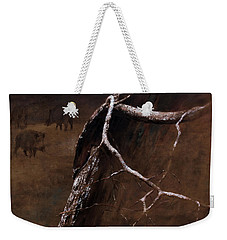Snowy Branch With Wild Boars Weekender Tote Bag