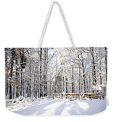 Snowy Chicken Coop Weekender Tote Bag